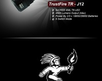 Светодиодный фонарик TrustFire TR-J12 Flashlight 5 * CREE XM-L T6 LED 5-Mode 4500 Lumens Memory High Power Camping Hiking LED Torch + Holster