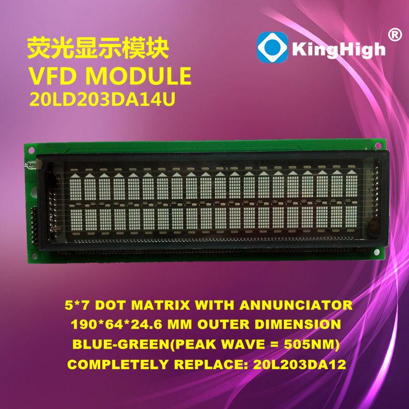 2x20 with 5x7 dot matrix 20L203DA12 20LD203DA14U VFD MODULE