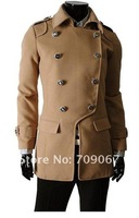 2012 Men's dust coat, Hot Men's Casual embroidery/Men's hoodie Color:Camel, Gray, Black Size:M-L-XL
