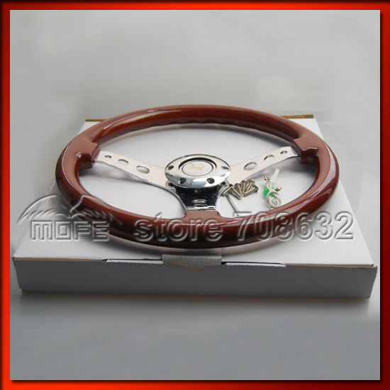 53mm Deep Corn Dish 350mm 14inch Steel Racing Sport Car Wood Steering Wheel DSC_0027