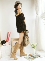 Big size boots US 4-15 Free shipping New Faux suede Snow Knee high boots Increased in Wedges women's Plush bootsMLE-A-8