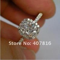 Кольцо SONA drilling PT950 platinum 1.9 carat damnd ring pillow shaped micro inlays