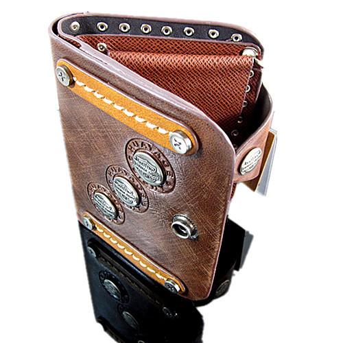 моды панк пу кожаный коричневый двойные карманы ж / строка бусины цепочки кошелек популярный подарок