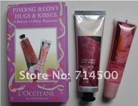 Free shipping 100% High Quality Pivoing reony hugs & kisses Hand Cream 30ML + lip balm 3sets/LOT HOT SELLING
