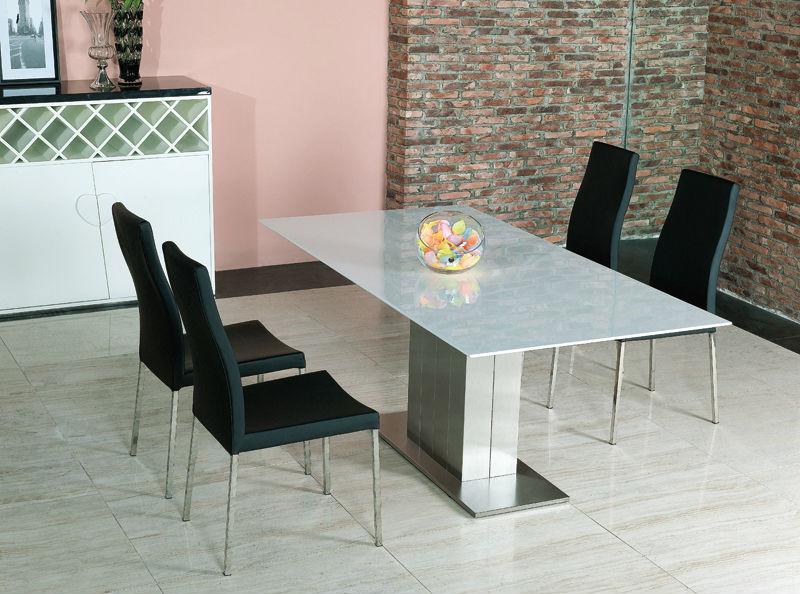 blanco extensin de comedor de mrmol mesa de madera de vidrio