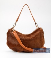 Маленькая сумочка genuine leather shoulder bags cross-body bags w/ pony hair