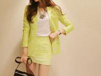 Весна осень желтый черный элегантный пиджак + юбка установить моды формальных юбка подходит для плюс размер xl a58