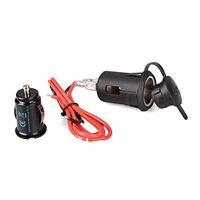 Waterproof Motorcycle Car Cigarette Lighter Socket Power Plug + Dual USB Charger