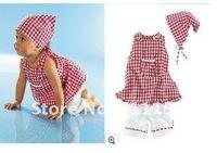 Комплект одежды для девочек Summer fashion style girl suit Triangle headscarves +sleeveless T-shirt +white capri pants 3pcs/set retail