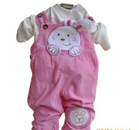 Cotton Baby 3PCS Set Outerwear+T-shirt+Pants/Hot pink Girls' Clothing/2012 Kids Clothes/baby suits/baby clothes/babywear