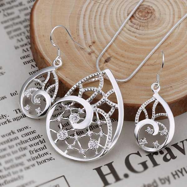מפעל מחיר איכותי 925 כסף סטרלינג נטו תכשיטים מגדיר שרשרת צמיד צמיד עגיל טבעת משלוח חינם SMTS249