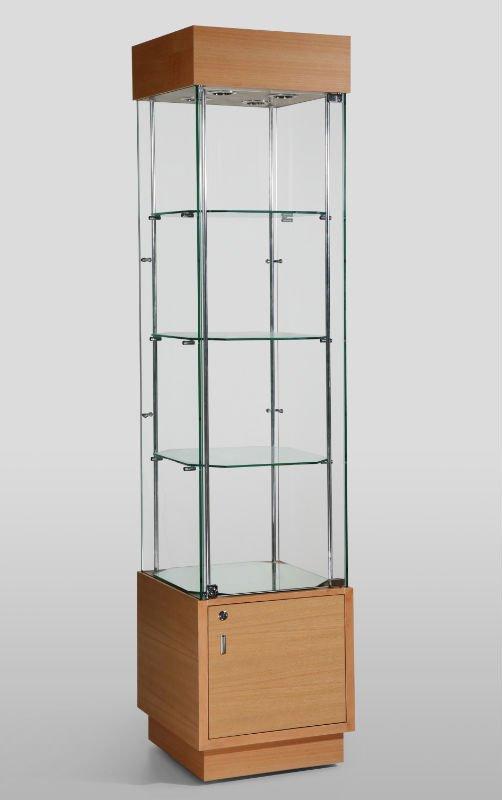Vitrina de madera vidrio templado y acabado de melamina - Vitrinas de madera y vidrio ...