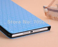 Fashion lamb skin grid case with stand for Ipad mini leather cover  PU pouch free shipping