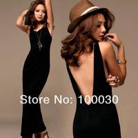 2013 Vogue Black Sexy Women Backless Halter Long Maxi Dress Sleeveless Casual free shipping