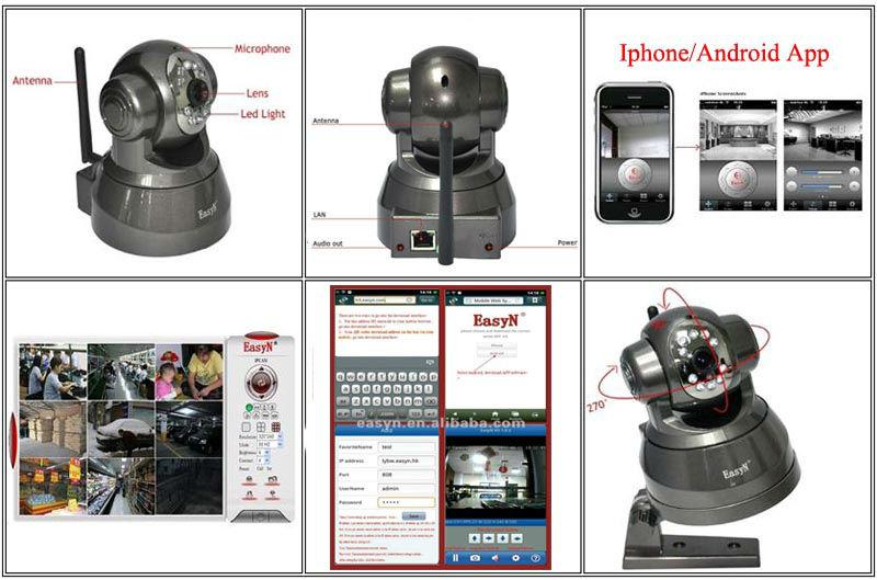 2014 telecamera ip wireless con supporto batteria di controllo pan tilt