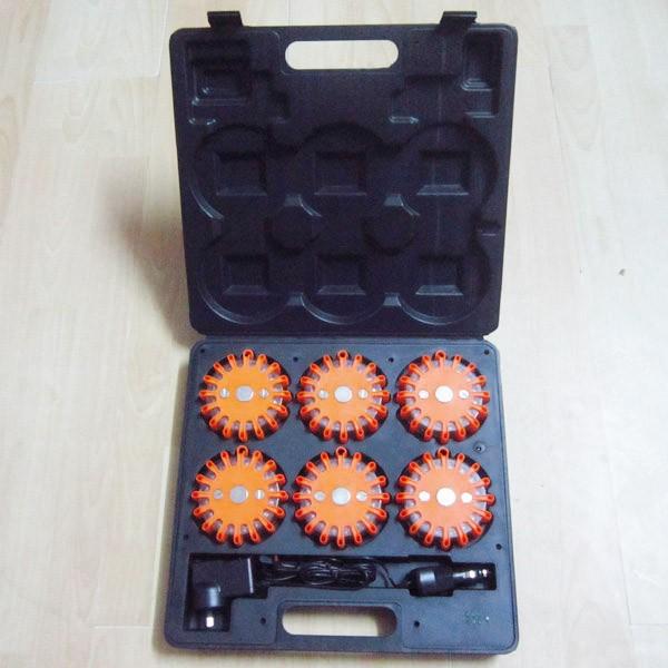 6 packs 16 led rechargeable led warning flares