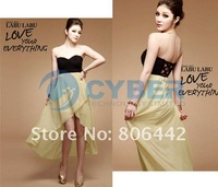 Женское платье 2012 Fashion Ladies Sexy Asymmetric Slim Strapless Chiffon Backless Dress