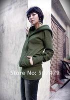 Женские толстовки и Кофты Women Fashion Generous Thick Diagonal Zipper Hooded Long Sleeve Jacket, Hot Sale Coat