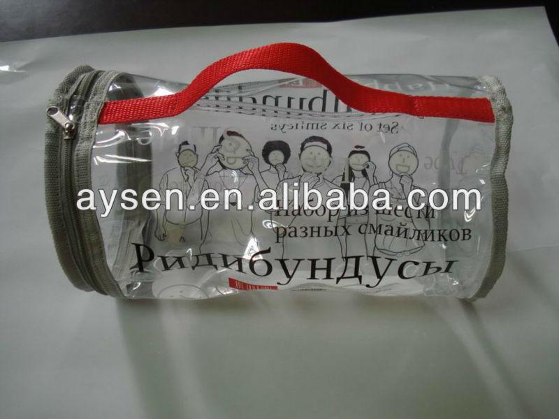 Saco de pvc zipper saco com rodada shap