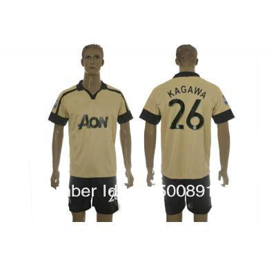 2013-2014 Manchester United club KAGAWA 26 yellow socccer jerseys away.jpg