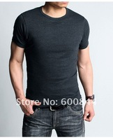 Мужская футболка 2012 New Spring High-elastic Lycra Cotton Men's Short Sleeve O Neck Tight T Shirt Drop Shipping Offered Kg047
