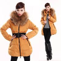 Мода женские пальто средней длины вниз ветровки, завод напрямую гарантируют реальный 80% утка вниз наполнитель awd1004
