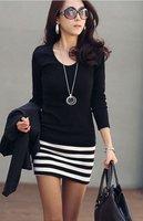 для осенних женщин женская с длинным рукавом платье раздели повседневные платья черного цвета