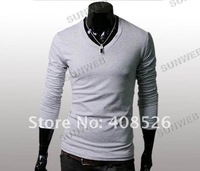 Мужская футболка 5pcs/lot New Slim Fit Cotton Stylish V-Neck Long Sleeve Casual Men's T-Shirt Tops 4 Color 3466