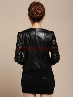 Женская одежда из кожи и замши autumn and winter new Haining leather jacket short paragraph Slim rivet motorcycle leather jackets for women