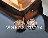 Серьги-гвоздики fashion earrings flower earring Rose Gold plated Crystal Zircon Rhinestone earrings stud