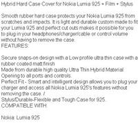 Чехол для для мобильных телефонов Hybrid Hard Case Cover for Nokia Lumia 925 + Film + Stylus