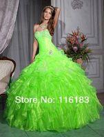 Пышное платье 2013 Green A-Line Quinceanera Graduation Wedding/Bridesmaid Evening Party Dress Custom Made 6 8 10 12 14 16