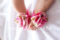 Детский аксессуар для волос F009 Latest design Baby foot flower baby girls flower shape shoe Barefoot Sandals Foot accessories 40pcs=20pair