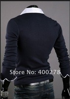 Мужская футболка 2012 New Men's Long Sleeve T-shirt Men's cotton T Shirts suppliers Fashion fake two-piece T-Shirts TD01
