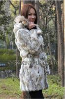 Женская одежда из меха EMS CX-G-A-65 Genunie Rabbit Fur Coat With Hoodies ~ DROP SHIPPING
