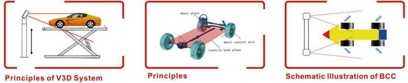 Wheel alignment machine balancing height measurement devices aligner