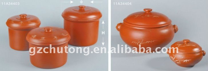 Large heat-resistance black clay ceramic cooking pot