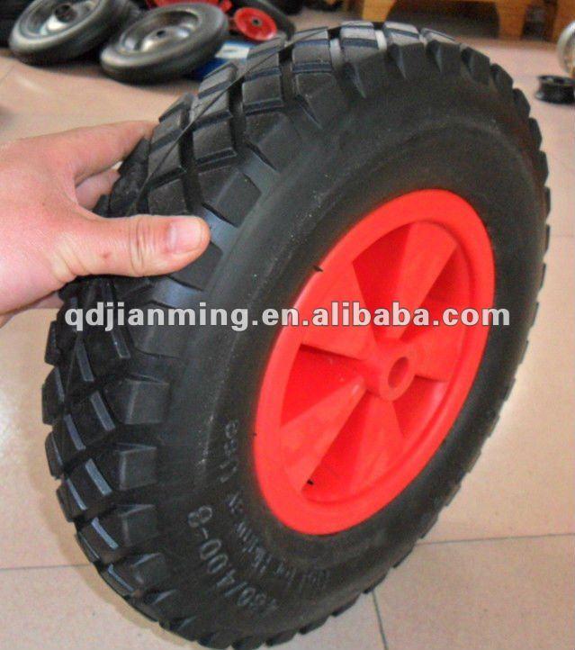 4.00-8 big plastic rubber wheel solid wheel steel spoke with bearing wheel