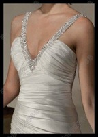 Famous Design A-Line V-neck Wedding Dress 2012 With Spaghetti Straps MS-A000