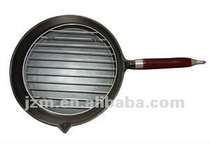 wood handle cast iron grill pan