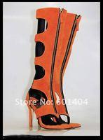 мода марка женщины сандалии сапоги натуральная кожа Гладиатор Пип-toe высокий каблук обувь Рождество