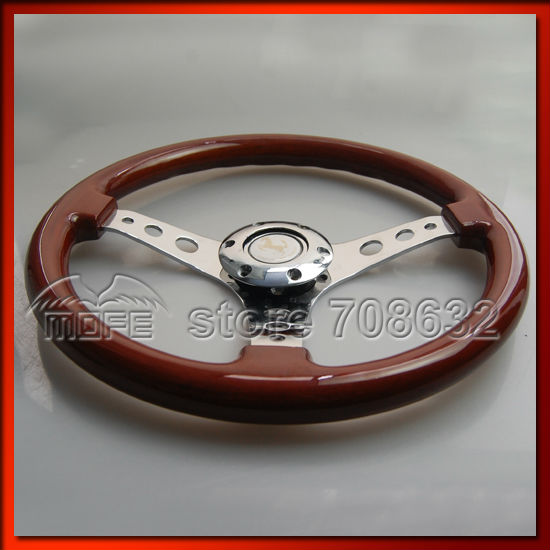 53mm Deep Corn Dish 350mm 14inch Steel Racing Sport Car Wood Steering Wheel DSC_0030
