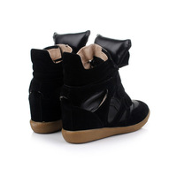 Женские ботинки 2013 Isabel Marant Genuine Leather Sneakers For Women Boots Bekket High top Suede Height Increasing Shoes In Womens Size 35-41