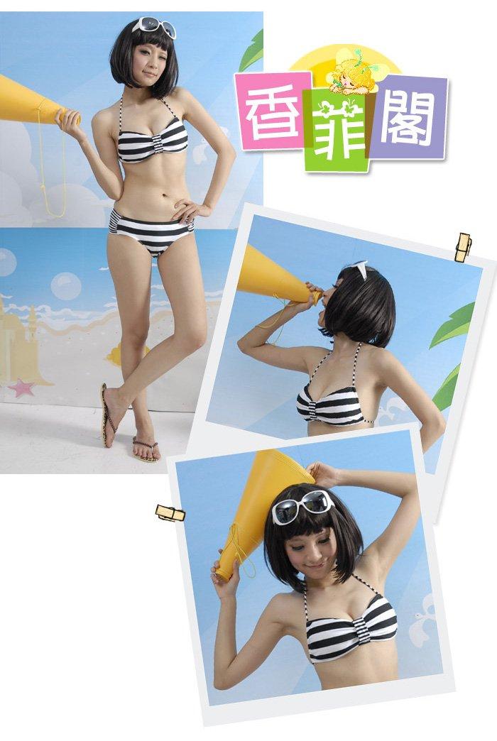 and white striped Bikini Set Halter Bra style design Bikini Set8023