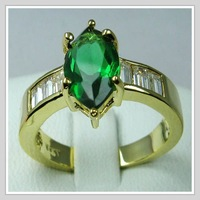 Wholesale NEW! Guaranteed 100% Ring 18K Yellow Gold Gp Emerald Zircon Size 8 **laomiaogold** & Free shipping(Belt track number)
