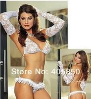 Сексуальная ночная сорочка Sexy Lingerie white lace bra+gstring+glove 3pcs set sleepwear, sexy lingerie, sexy uniform, sexy kimono, sexy costume