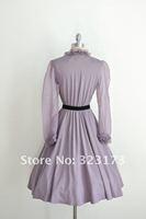 Real Sample Light Purple A-line V-neck Long Sleeves Belt Pleated Knee Length Chiffon Taffeta Cocktail Dress Formal Gown