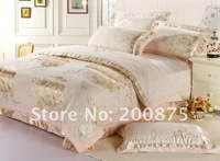 Free Shipping /Gold tree Luxurious beautiful jacquard duvet covers set /bed sheet /4pc for quilt comforter bedding set /linens