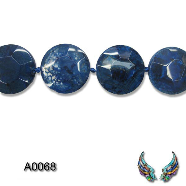 agate faceted coin beads, dark blue, 36x36mm, 16 inches strand