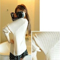 Женский пуловер BEST Ladies Batwing Round Neck Knitted Pullover Jumper Casual Loose Long Sweater 36754